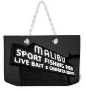 Malibu Pier Sign In Bw Weekender Tote Bag by Glenn McCarthy Art and Photography