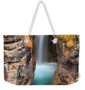 Maligne Canyon Falls Vertical Panorama Weekender Tote Bag