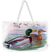 Mallard Or Wild Duck Antique Bird Print Joseph Wolf Birds Of Great Britain  Weekender Tote Bag
