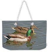 Mallard Pair Swimming, Waterfowl, Ducks Weekender Tote Bag