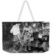 Man And Woman In Fishing Gear Weekender Tote Bag