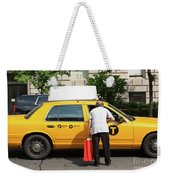Man Asks For Information A Taxi Driver In Manhattan. Weekender Tote Bag