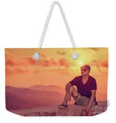 Man Enjoying Sunset Weekender Tote Bag