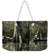 Man Fishing In Cypress Swamp Weekender Tote Bag