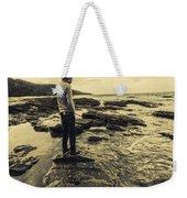 Man Gazing Out On Coastal Rocks Weekender Tote Bag