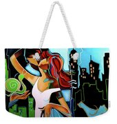 Man Giving His Snail, For Unknown Reasons, Making Bird Cry Weekender Tote Bag