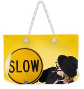 Man Holding Slow Sign During Adverse Conditions Weekender Tote Bag by Jorgo Photography - Wall Art Gallery