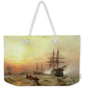 Man-o-war Firing A Salute At Sunset Weekender Tote Bag by Claude T Stanfield Moore