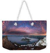 Man On Hilltop Viewing Crater Lake With Full Moon Weekender Tote Bag