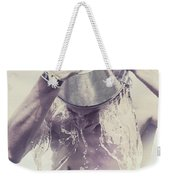 Man Pouring Cold Water From Wine Cooler Over Body Weekender Tote Bag
