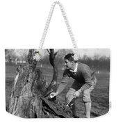 Man Retrieving Golf Ball From Tree Weekender Tote Bag