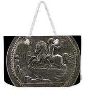 Man Riding Towards A Cliff Carrying A Scroll [reverse] Weekender Tote Bag