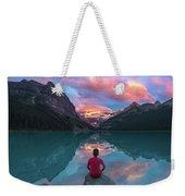 Man Sit On Rock Watching Lake Louise Morning Clouds With Reflect Weekender Tote Bag