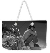 Man Sitting Along Curb  Weekender Tote Bag