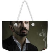 Man Smoking A Cigar Weekender Tote Bag