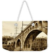 Manayunk Bridge Across The Schuylkill River In Sepia Weekender Tote Bag