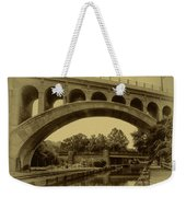 Manayunk Canal In Sepia Weekender Tote Bag by Bill Cannon