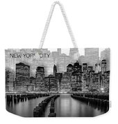 Manhattan Skyline - Graphic Art - White Weekender Tote Bag