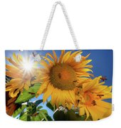 Many Bees Flying Around Sunflowers Weekender Tote Bag