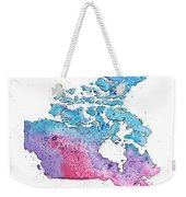 Map Of Canada With A Watercolor Texture In Pink, Blue And Purple Weekender Tote Bag