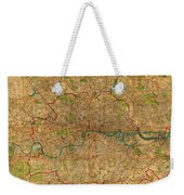 Map Of London England United Kingdom Vintage Street Map Schematic Circa 1899 On Old Worn Parchment  Weekender Tote Bag