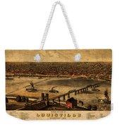 Map Of Louisville Kentucky Vintage Birds Eye View Aerial Schematic On Old Distressed Canvas Weekender Tote Bag
