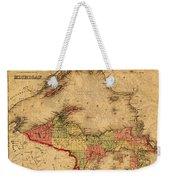 Map Of Michigan Upper Peninsula And Lake Superior Vintage Circa 1873 On Worn Distressed Canvas  Weekender Tote Bag