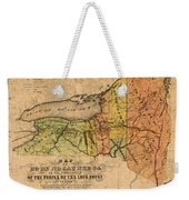 Map Of New York State Showing Original Indian Tribe Iroquois Landmarks And Territories Circa 1720 Weekender Tote Bag
