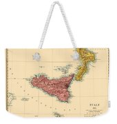 Map Of Sicily 1875 Weekender Tote Bag