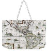Map Of The Americas Weekender Tote Bag by Henricus Hondius