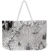 Map Of The Coast Of New England Weekender Tote Bag by Simon de Passe