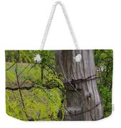 Marble Falls Texas Old Fence Post In Spring Weekender Tote Bag
