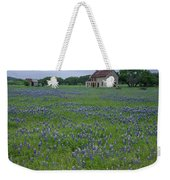 Marble Falls Texas Stone House And Bluebonnets Weekender Tote Bag