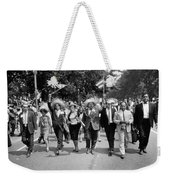 Marchers Wearing Hats Carry Puerto Rican Flags Down Constitution Avenue Weekender Tote Bag