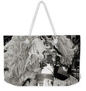 Mardi Gras Indian In Pirates Alley In Black And White Weekender Tote Bag