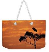 Maribou Stork On Tree With Orange Sunrise Sky Weekender Tote Bag