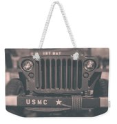 Marine Corps Jeep In Black And White Weekender Tote Bag