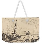 Marine: Fishing Boats On Shore, Man With Oars, Ship In Distance Weekender Tote Bag