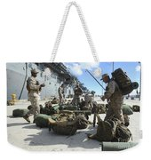 Marines Move Gear During An Embarkation Weekender Tote Bag