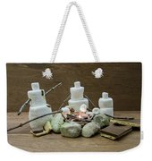 Marshmallow Family Making S'mores Over Campfire Weekender Tote Bag