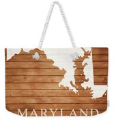 Maryland Rustic Map On Wood Weekender Tote Bag