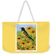 Maryland State Bird Oriole And Daisy Flower Weekender Tote Bag by Crista Forest