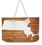 Massachusetts Rustic Map On Wood Weekender Tote Bag
