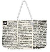 Massachusetts Spy, 1776 Weekender Tote Bag