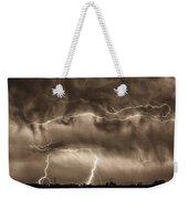 May Showers - Lightning Thunderstorm Sepia Hdr Weekender Tote Bag