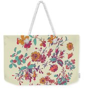 Meadow Flower And Leaf Wreath Isolated On Beige, Circle Doodle F Weekender Tote Bag