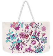Meadow Flower And Leaf Wreath Isolated On Pink, Circle Doodle Fl Weekender Tote Bag