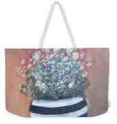 Meadow Flowers In Striped Vase  Weekender Tote Bag