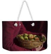 Medieval Woman Holding A Basket Of Apples Weekender Tote Bag