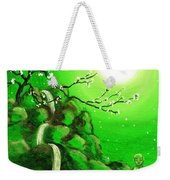 Meditating While Cherry Blossoms Fall In Green Weekender Tote Bag